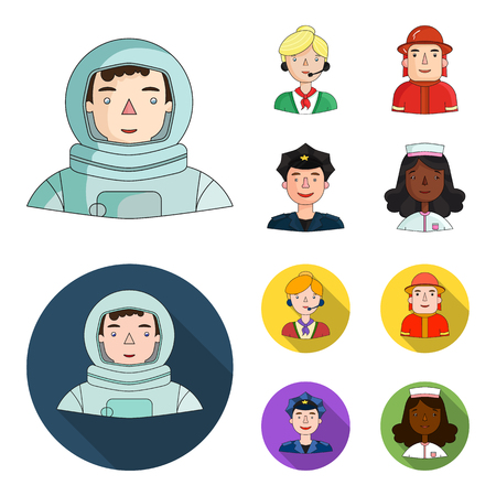An astronaut in a spacesuit, a co-worker with a microphone, a fireman in a helmet, a policeman with a badge on his cap. People of different professions set collection icons in cartoon,flat style vector symbol stock illustration .