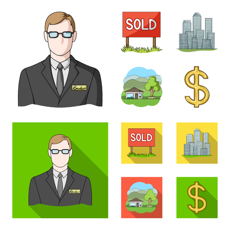 Employee of the agency, sold, metropolis, country house. set collection icons in cartoon,flat style vector symbol stock illustration . Illustration