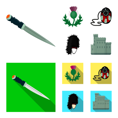 National Dirk Dagger, Thistle National Symbol, Sporran,glengarry.Scotland set collection icons in cartoon,flat style vector symbol stock illustration . Çizim