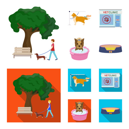 Walking with a dog in the park, combing a dog, a veterinarian office, bathing a pet. Vet clinic and pet care set collection icons in cartoon,flat style vector symbol stock illustration . Vettoriali