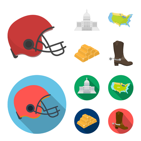 Football player helmet, capitol, territory map, gold and foreign exchange. USA country set collection icons in cartoon,flat style vector symbol stock illustration .  イラスト・ベクター素材