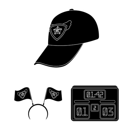 Fan and Attributes black icons in set collection for design. Sports Fan vector symbol stock  illustration.