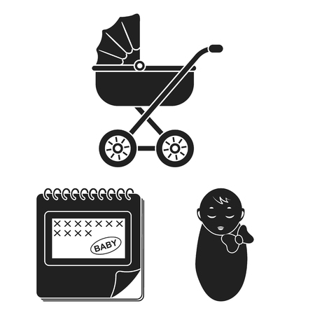 Woman and pregnancy black icons in set collection for design. Gynecology and equipment vector symbol stock  illustration.