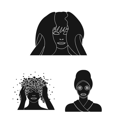 Care of hair and face black icons in set collection for design. Perfumes and makeup vector symbol stock  illustration.