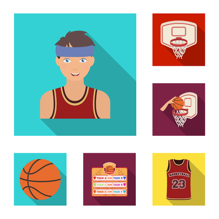 Basketball and attributes flat icons in set collection for design.Basketball player and equipment vector symbol stock  illustration. Ilustração