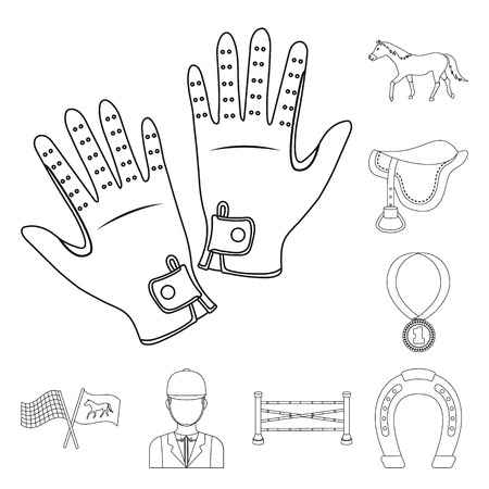Hippodrome and horse outline icons in set collection for design. Horse Racing and Equipment vector symbol stock  illustration.