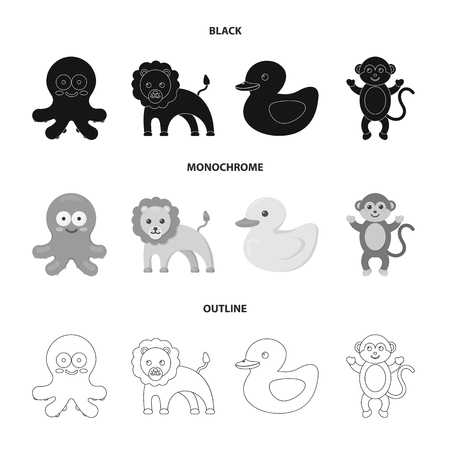 An unrealistic black,monochrome,outline animal icons in set collection for design. Toy animals vector symbol stock  illustration.