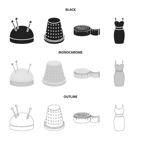 Pincushion with pins, thimble, centimeter, dress.Atelier set collection icons in black,monochrome,outline style vector symbol stock illustration .