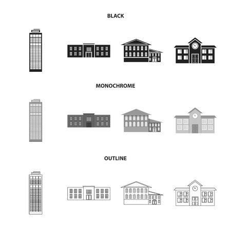 Skyscraper, police, hotel, school.Building set collection icons in black,monochrome,outline style vector symbol stock illustration . Illustration