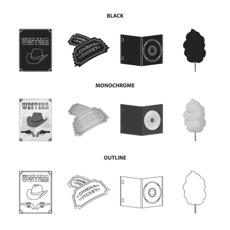 Western cinema, tickets, sweet cotton wool, film on DVD.Filmy and cinema set collection icons in black,monochrome,outline style vector symbol stock illustration . Stock Illustratie