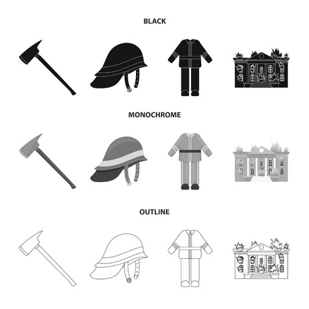 Ax, helmet, uniform, burning building. Fire departmentset set collection icons in black,monochrome,outline style vector symbol stock illustration . Illustration