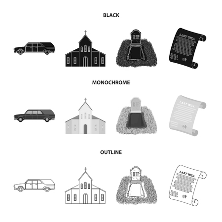 Black cadillac to transport the grave of the deceased, a church for a funeral ceremony, a grave with a tombstone, a death certificate. Funeral ceremony set collection icons in black,monochrome,outline style vector symbol stock illustration .