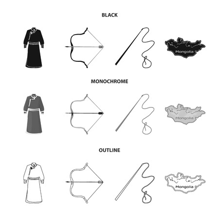 .mongol dressing gown, battle bow, theria on the map, Urga, Khlyst. Mongolia set collection icons in black,monochrome,outline style vector symbol stock illustration .