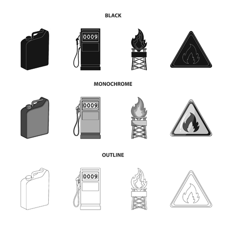 Canister for gasoline, gas station, tower, warning sign. Oil set collection icons in black,monochrome,outline style vector symbol stock illustration .