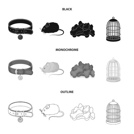 A collar, a forage, a toy, a cage and other products of the zoo store.Pet shop set collection icons in black,monochrome,outline style vector symbol stock illustration. Illustration