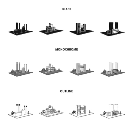 Processing factory,metallurgical plant. Factory and industry set collection icons in black,monochrome,outline style isometric vector symbol stock illustration . Иллюстрация