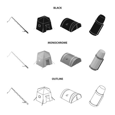 Spinning for fishing, tent, thermos.Tent set collection icons in black,monochrome,outline style vector symbol stock illustration . Illustration