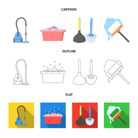 Cleaning and maid cartoon,outline,flat icons in set collection for design. Equipment for cleaning vector symbol stock  illustration.