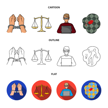 Handcuffs, scales of justice, hacker, crime scene.Crime set collection icons in cartoon,outline,flat style vector symbol stock illustration . Illustration