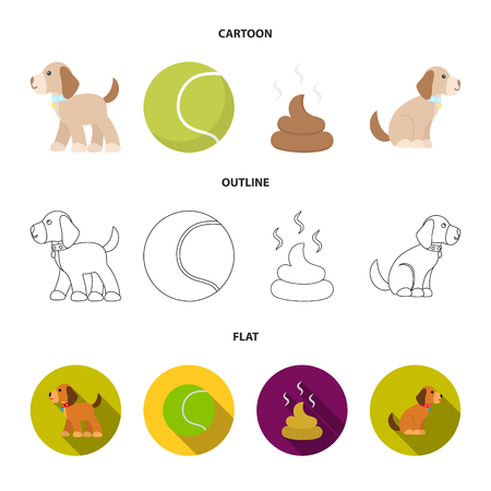 Dog sitting, dog standing, tennis ball, feces. Dog set collection icons in cartoon,outline,flat style vector symbol stock illustration web.