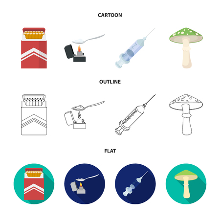 Cigarettes, a syringe, a galoyucinogenic fungus, heroin in a spoon.Drug set collection icons in cartoon,outline,flat style vector symbol stock illustration web.
