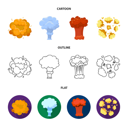 Flame, sparks, hydrogen fragments, atomic or gas explosion. Explosions set collection icons in cartoon,outline,flat style vector symbol stock illustration . Illusztráció