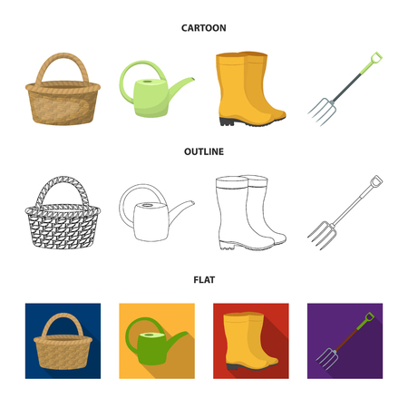 Basket wicker, watering can for irrigation, rubber boots, forks. Farm and gardening set collection icons in cartoon,outline,flat style vector symbol stock illustration .