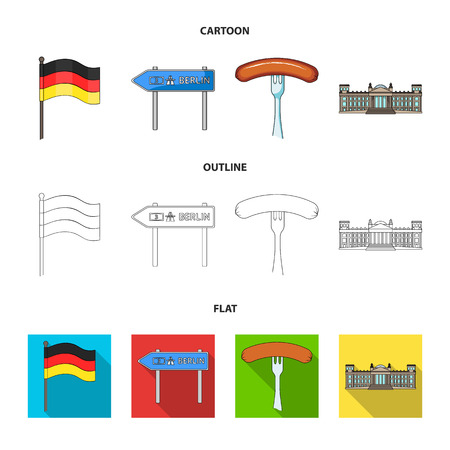 Country Germany cartoon,outline,flat icons in set collection for design. Germany and landmark vector symbol stock web illustration.