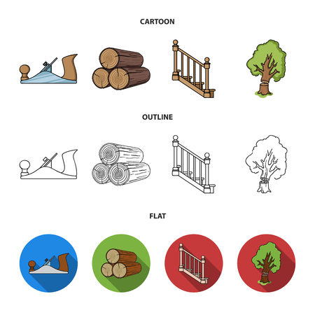 Logs in a stack, plane, tree, ladder with handrails. Sawmill and timber set collection icons in cartoon,outline,flat style vector symbol stock illustration web.