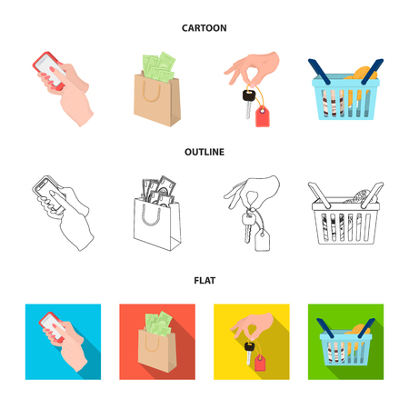 Mobile phone, a package with money and other web icon in cartoon,outline,flat style. a key in hand, a basket with food icons in set collection. Vektoros illusztráció