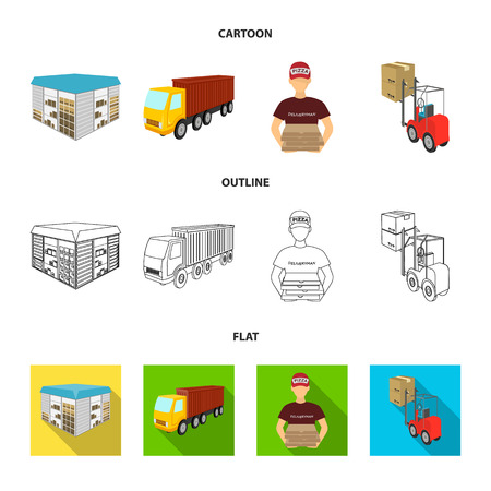 Truck, courier for delivery of pizza, forklift, storage room. Logistics and delivery set collection icons in cartoon,outline,flat style isometric vector symbol stock illustration web.