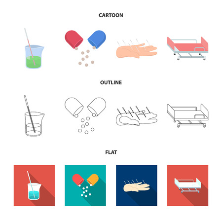 Solution, tablet, acupuncture, hospital gurney.Medicine set collection icons in cartoon,outline,flat style vector symbol stock illustration web.