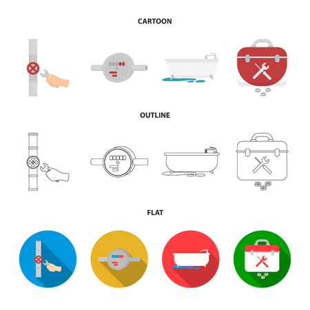 Water meter, bath and other equipment.Plumbing set collection icons in cartoon,outline,flat style vector symbol stock illustration web. Illustration
