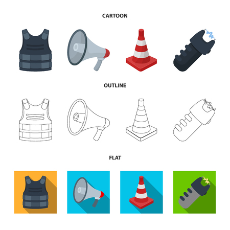Bulletproof vest, megaphone, cone of fencing, electric shock. Police set collection icons in cartoon,outline,flat style vector symbol stock illustration web.