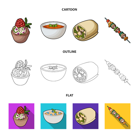 Cake with raspberries, vegetarian soup with greens, sausages from vegetables, skewers of vegetables. Vegetarian dishes set collection icons in cartoon,outline,flat style vector symbol stock illustration web.
