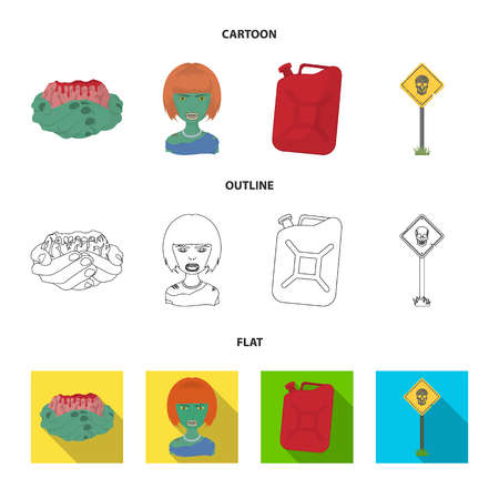 Zombies and Attributes cartoon,outline,flat icons in set collection for design. Dead man vector symbol stock web illustration. Иллюстрация