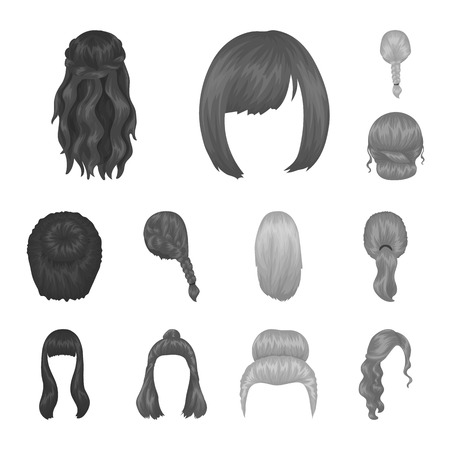 Female hairstyle monochrome icons in set collection for design. Stylish haircut vector symbol stock web illustration. Фото со стока - 103898521