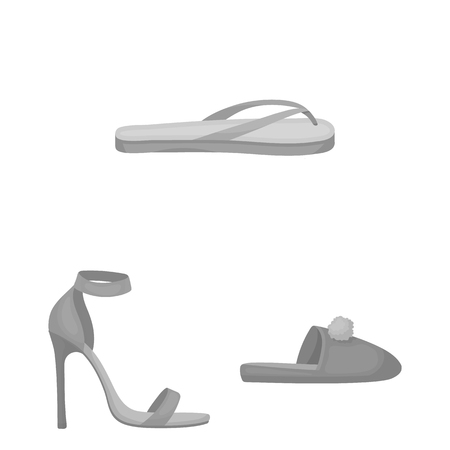 A variety of shoes monochrome icons in set collection for design. Boot, sneakers vector symbol stock  illustration.