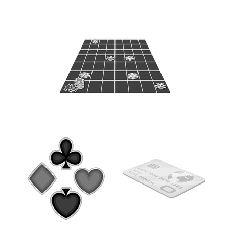 Casino and equipment monochrome icons in set collection for design. Gambling and money vector symbol stock  illustration. Foto de archivo - 103928714