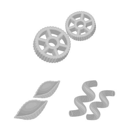 Types of pasta monochrome icons in set collection for design. Figured macaroni for eating vector symbol stock  illustration.  イラスト・ベクター素材