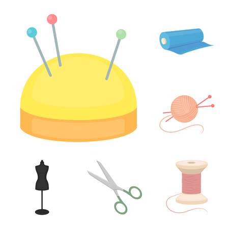 Atelier and sewing cartoon icons in set collection for design. Equipment and tools for sewing vector symbol stock  illustration. Ilustração