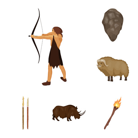 Life in the Stone Age cartoon icons in set collection for design. Ancient people vector symbol stock  illustration. Illusztráció