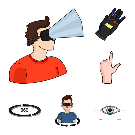 A virtual reality cartoon icons in set collection for design. Modern technology and equipment vector symbol stock  illustration.
