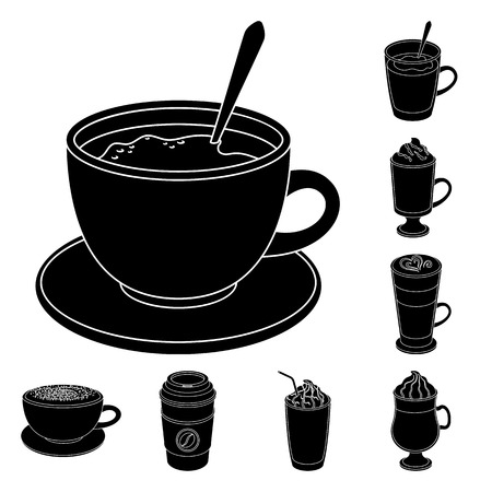 Different kinds of coffee black icons in set collection for design. Coffee drink vector symbol stock  illustration. Иллюстрация