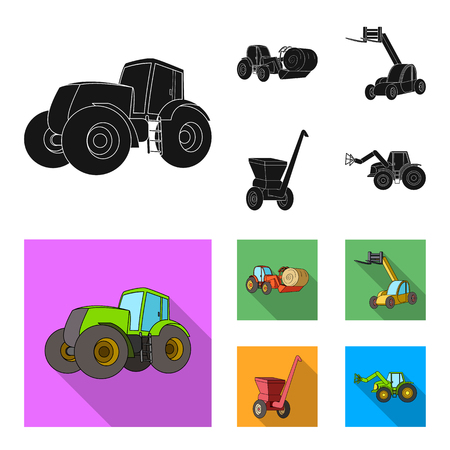 Tractor, hay balancer and other agricultural devices. Agricultural machinery set collection icons in black, flat style vector symbol stock illustration .