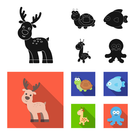 An unrealistic black, flat animal icons in set collection for design. Toy animals vector symbol stock illustration.