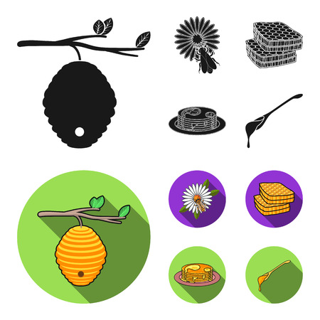 A hive on a branch, a bee on a flower, a honeycomb with honey, a honey cake.Apiary set collection icons in black, flat style vector symbol stock illustration . Illustration