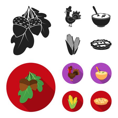 Acorns, corn.arthene puree, festive turkey,Canada thanksgiving day set collection icons in black, flat style vector symbol stock illustration web.