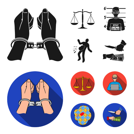 Handcuffs, scales of justice, hacker, crime scene.Crime set collection icons in black, flat style vector symbol stock illustration web.