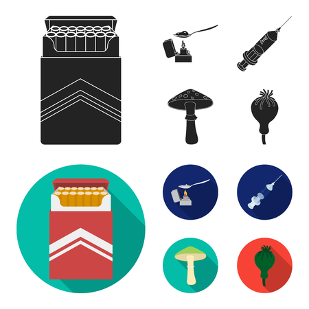 Cigarettes, a syringe, a galoyucinogenic fungus, heroin in a spoon.Drug set collection icons in black, flat style vector symbol stock illustration web.